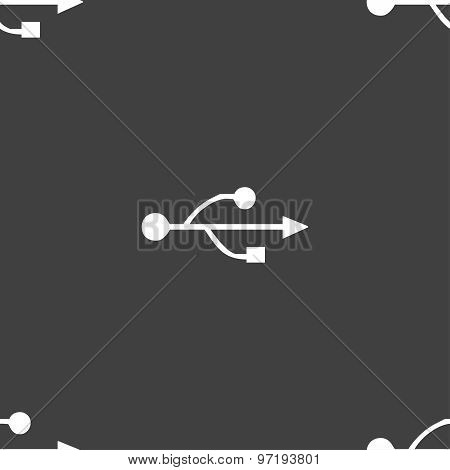 Usb Icon Sign. Seamless Pattern On A Gray Background. Vector