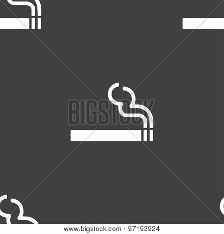 Cigarette Smoke Icon Sign. Seamless Pattern On A Gray Background. Vector