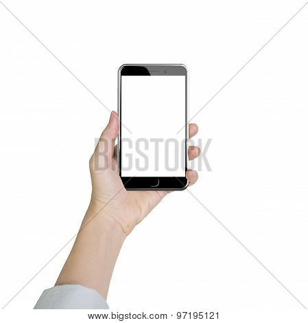 Woman Hand Holding Smart Phone With Blank White Touchscreen