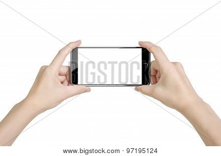 Woman Hands Holding Smart Phone With Blank White Touchscreen