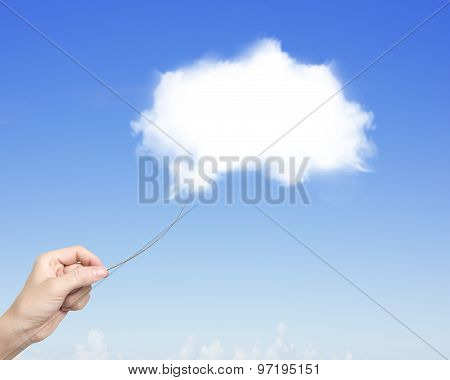 Woman Hand Pulling Rope Connected With One White Cloud