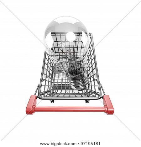 Shopping Cart With Large Light Bulb