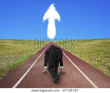 Businessman Ready To Race On Running Track Toward Arrow Up