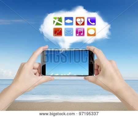 Woman Hands Holding Smartphone With App Icons White Cloud