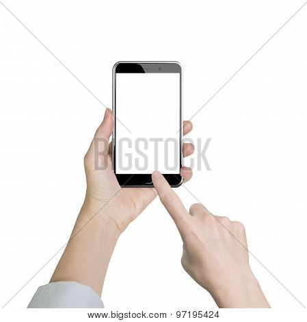Woman Hand Holding Smart Phone Finger Touching White Screen