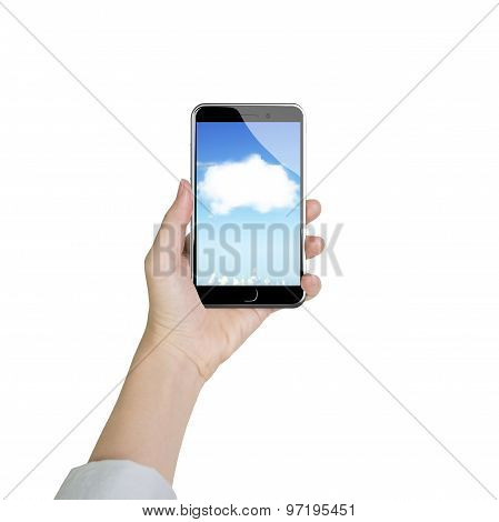 Woman Hand Holding Smart Phone With White Cloud Application