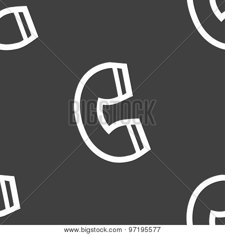 Handset Icon Sign. Seamless Pattern On A Gray Background. Vector