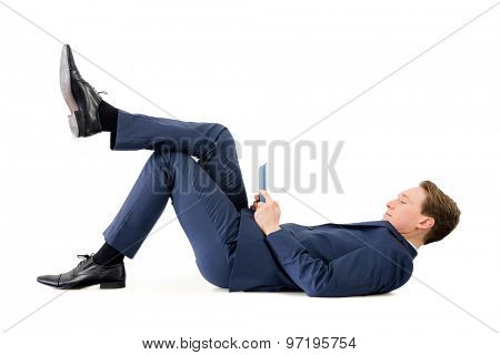 Businessman lying on the floor on white backgroung