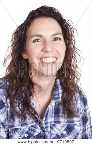 Woman Expression Blue Smile