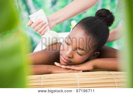 Front view of a pretty woman enjoying a herbal compress massage at the health spa