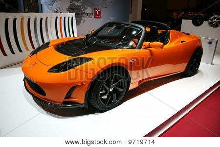 Tesla Roadster Electric At Paris Motor Show