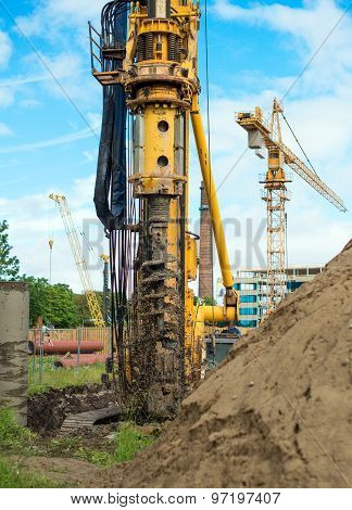 Hydraulic Drilling Machine On The Construction Site.
