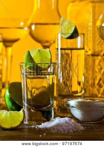 Gold Tequila And Lime
