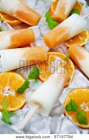 Homemade frozen yogurt cantaloupe popsicles
