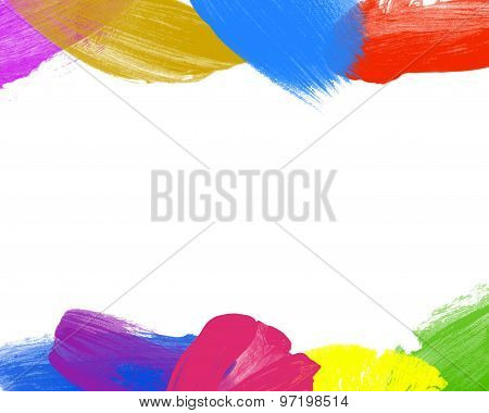 Color Paint Over White Background