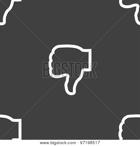 Dislike Icon Sign. Seamless Pattern On A Gray Background. Vector