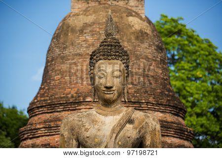Ancient Buddha Statue at Sukhothai historical park, Mahathat Temple ,Thailand.