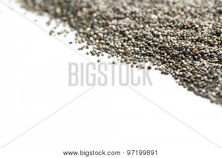 chia seeds on white background