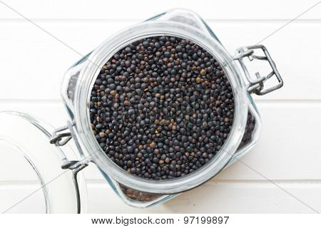 Beluga. Black lentil in jar.
