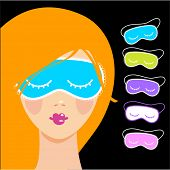 Постер, плакат: Sleep mask Sleeping woman in a mask to sleep Night accessory to sleep travel and recreation