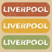 Постер, плакат: Vintage Liverpool stamp set