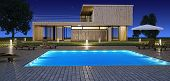 stock photo of villa  - Modern house with swimming pool in night vision - JPG