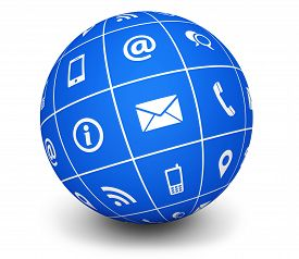 picture of blog icon  - Website and Internet contact us web icons and symbol on a blue globe for blog and online business illustration on white background - JPG