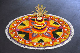picture of pookolam  - Kerala festival of onam colorful flowers decoration - JPG