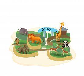 foto of zoo  - Cartoon zoo illustration - JPG