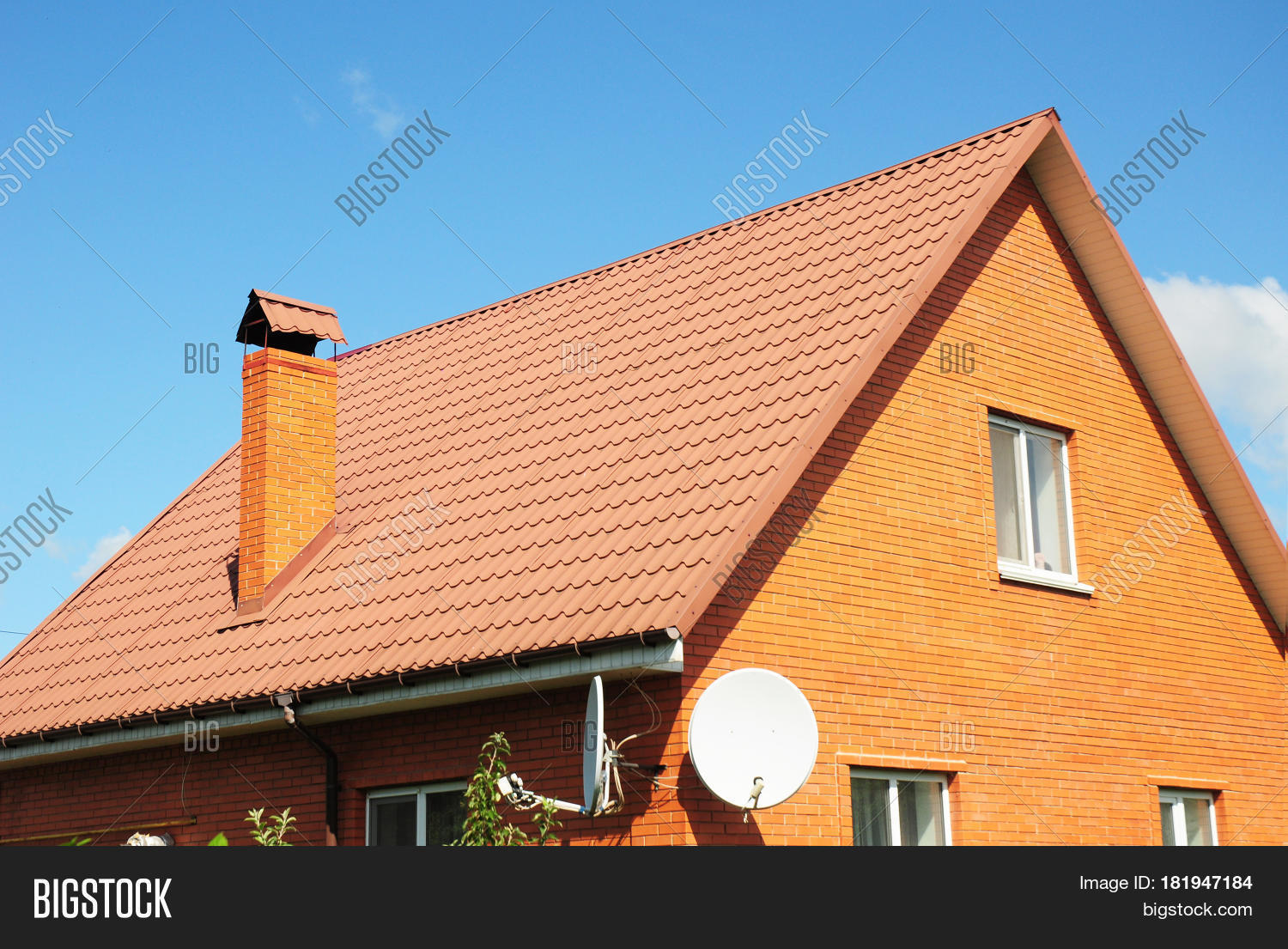 Red old metal house roof tiles image photo bigstock for House roof construction