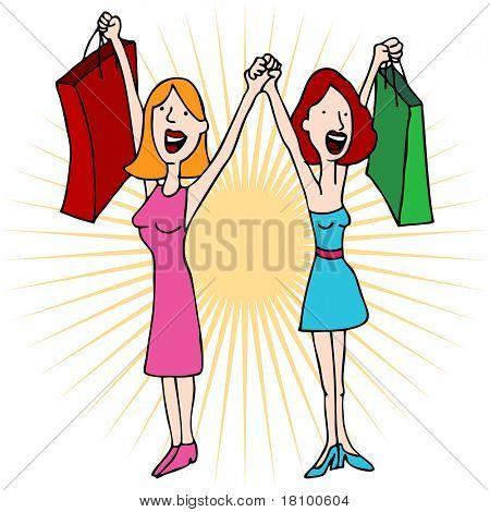 Uma imagem de duas meninas de mãos dadas com sacos de compras.