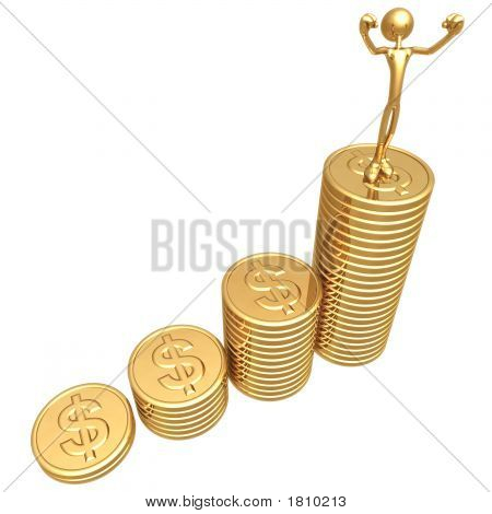 Profit Growth Gold Dollar Coins Business Graph