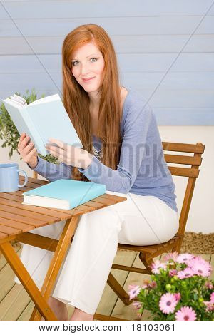 Summer Terrace Redhead Woman Relax With Book