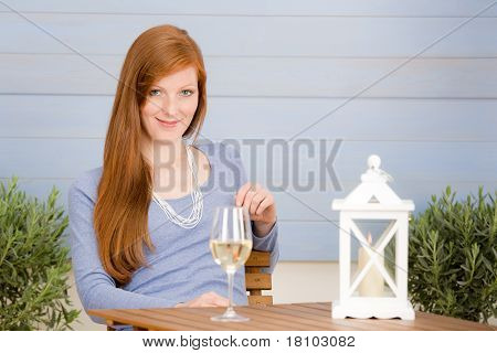Summer Terrace Redhead Woman With Glass Of Wine
