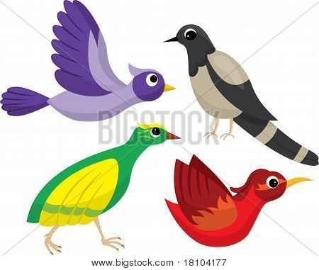 Set of bright cartoon birds