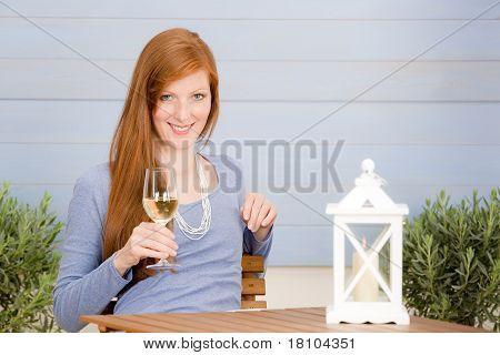 Summer Terrace Redhead Woman