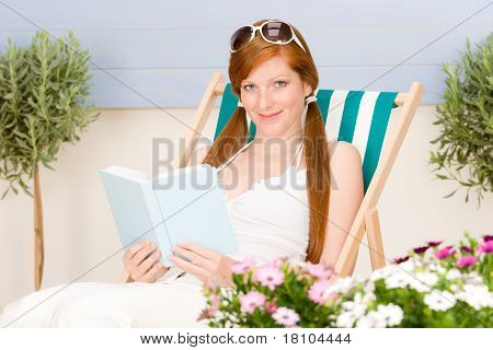 Summer Terrace Red Hair Woman