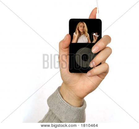 Hand Held Mp3 Player With Photograph Inserted