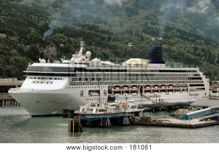 Cruise Ship In Skagway, Alaska Harbor