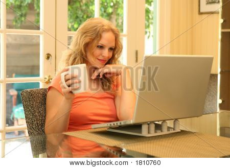 Woman On A Laptop Computer