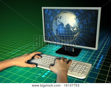 Some hands typing on a computer keyboard, while an Earth globe emerges from a monitor. Digital illustration.