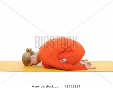Series Or Yoga Photos. Young Woman In Pranam Pose On Yellow Pilates Mat