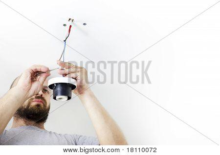 Elektriker installieren raumhohen Licht / house-Arbeitnehmer / repairing