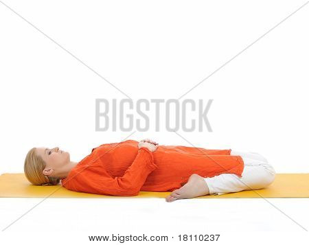 Series Or Yoga Photos. Young Woman In Subtavirasana Pose On Yellow Pilates Mat