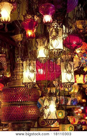 Turkish Lamps At Grand Bazaar In Istanbul, Turkey