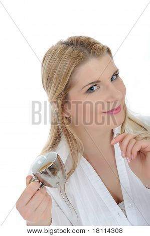 Pretty Business Woman Drinking Cup Of Espresso Coffee. Isolated On White