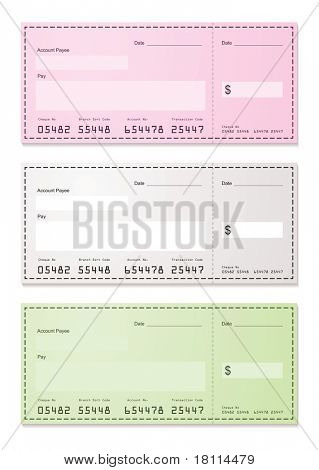 American check payment paper slip with room to add your own amounts