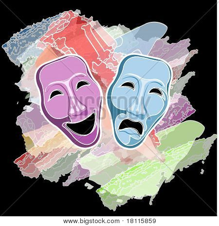 máscaras de comedia y tragedia de teatro