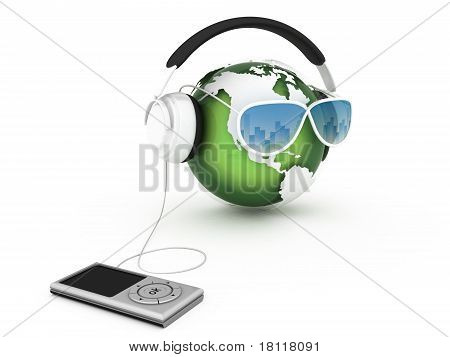 Music Earth With Headphones
