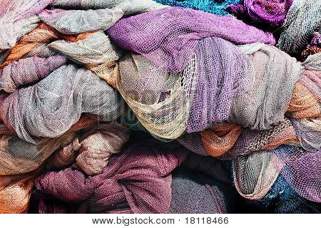 Fishing Nets. Colorful In A Bunch
